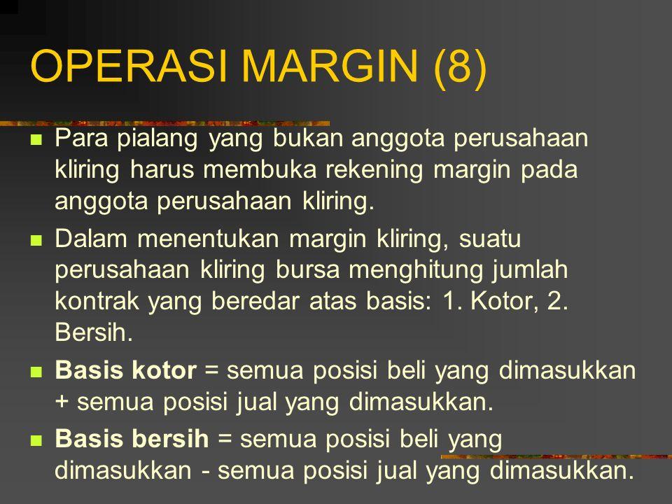 OPERASI MARGIN (7) Perusahaan Kliring Bursa: pembantu bursa & bertindak sebagai perantara dalam transaksi futures. Tugas Utama Perusahaan Kliring: men