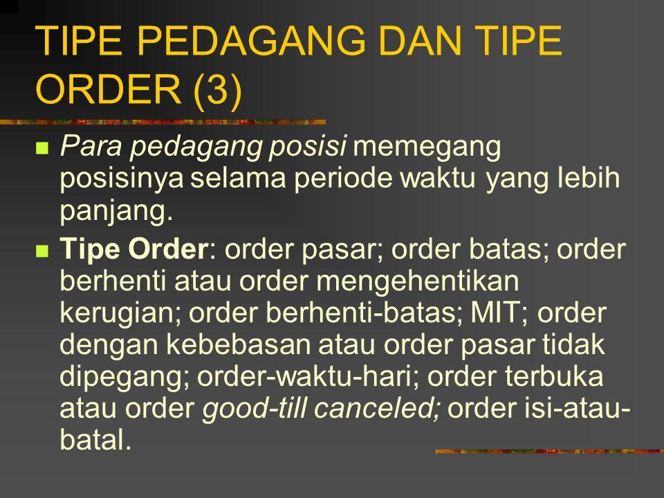TIPE PEDAGANG DAN TIPE ORDER (2) Spekulator diklasifikasikan menjadi: para tukang catut, para pedagang harian, dan para pedagang posisi. Para tukang c