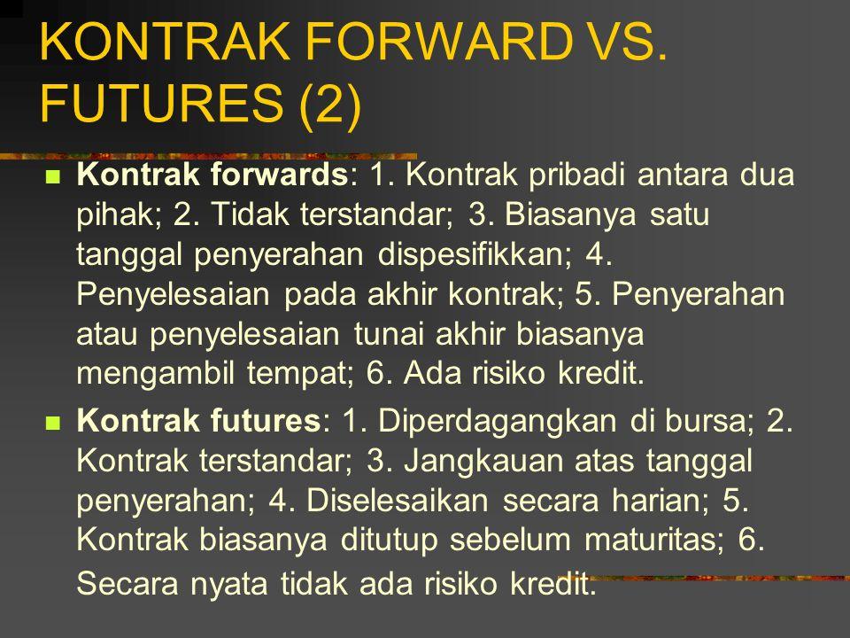 KONTRAK FORWARD VS. FUTURES (1) Dengan perbedaan karakteristik kontrak antara kontrak forwards dengan kontrak futures, maka menyebabkan mekanisme pasa