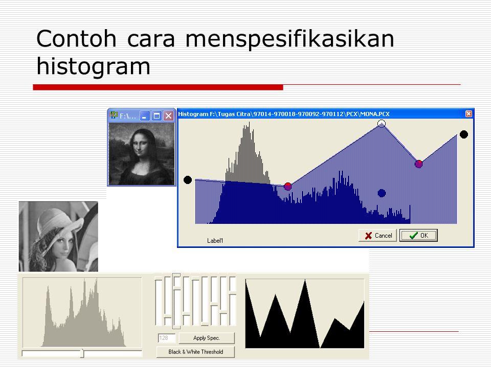 Contoh cara menspesifikasikan histogram