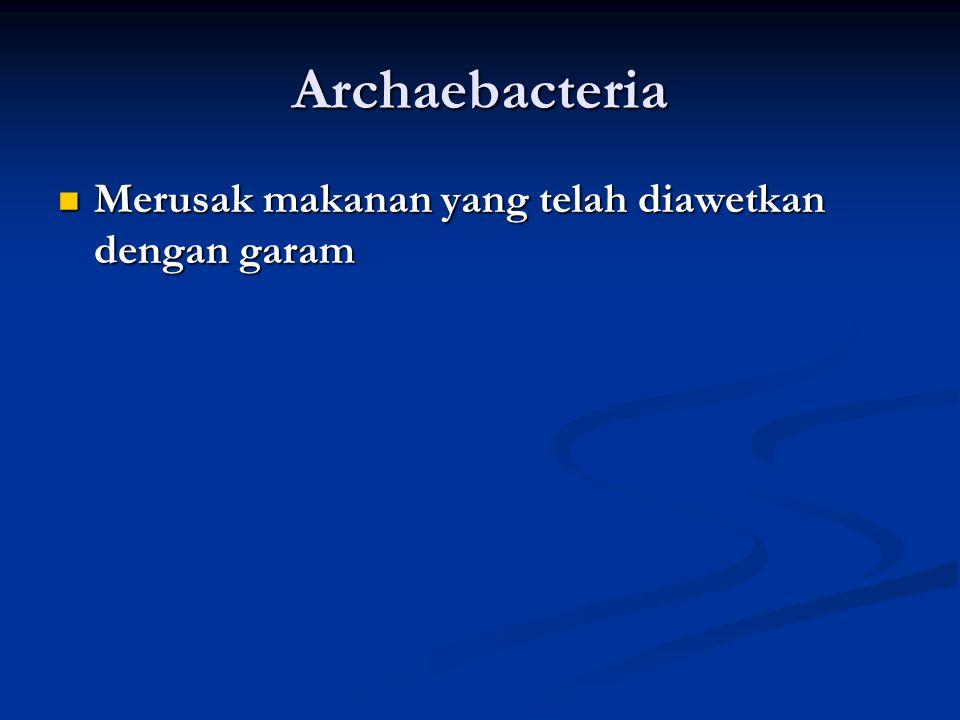 Eubacteria Clostridium botulinum (pembusukan makanan) Clostridium botulinum (pembusukan makanan) Mycobacterium tuberculosis (TBC) Mycobacterium tuberc