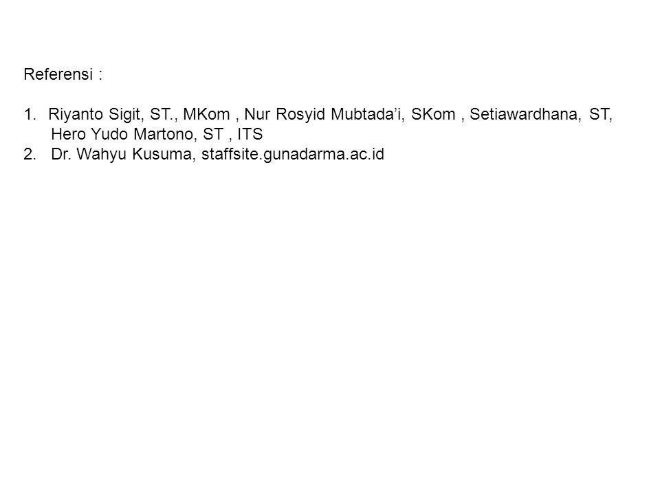 Referensi : 1.Riyanto Sigit, ST., MKom, Nur Rosyid Mubtada'i, SKom, Setiawardhana, ST, Hero Yudo Martono, ST, ITS 2.