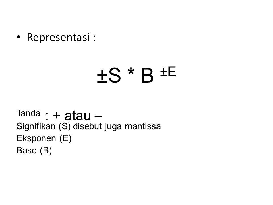 Representasi : ±S * B ±E Tanda : + atau – Signifikan (S) disebut juga mantissa Eksponen (E) Base (B)