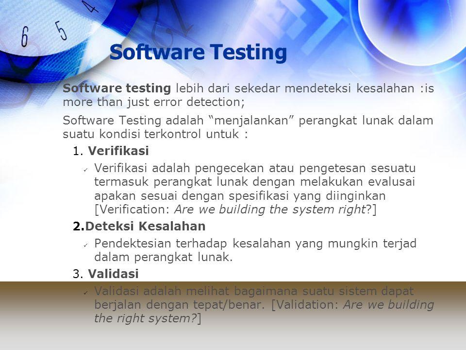 """Software Testing Software testing lebih dari sekedar mendeteksi kesalahan :is more than just error detection; Software Testing adalah """"menjalankan"""" pe"""