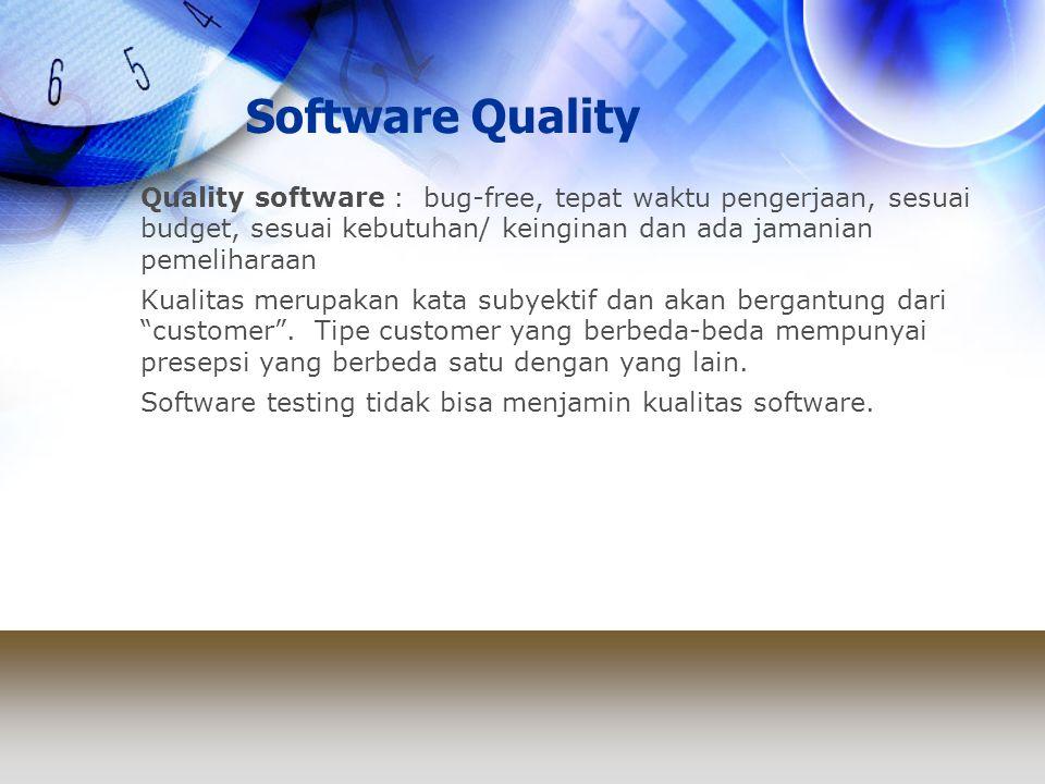 Software Quality Quality software : bug-free, tepat waktu pengerjaan, sesuai budget, sesuai kebutuhan/ keinginan dan ada jamanian pemeliharaan Kualita