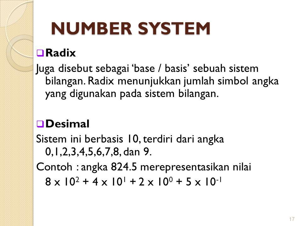 NUMBER SYSTEM  Radix Juga disebut sebagai 'base / basis' sebuah sistem bilangan. Radix menunjukkan jumlah simbol angka yang digunakan pada sistem bil