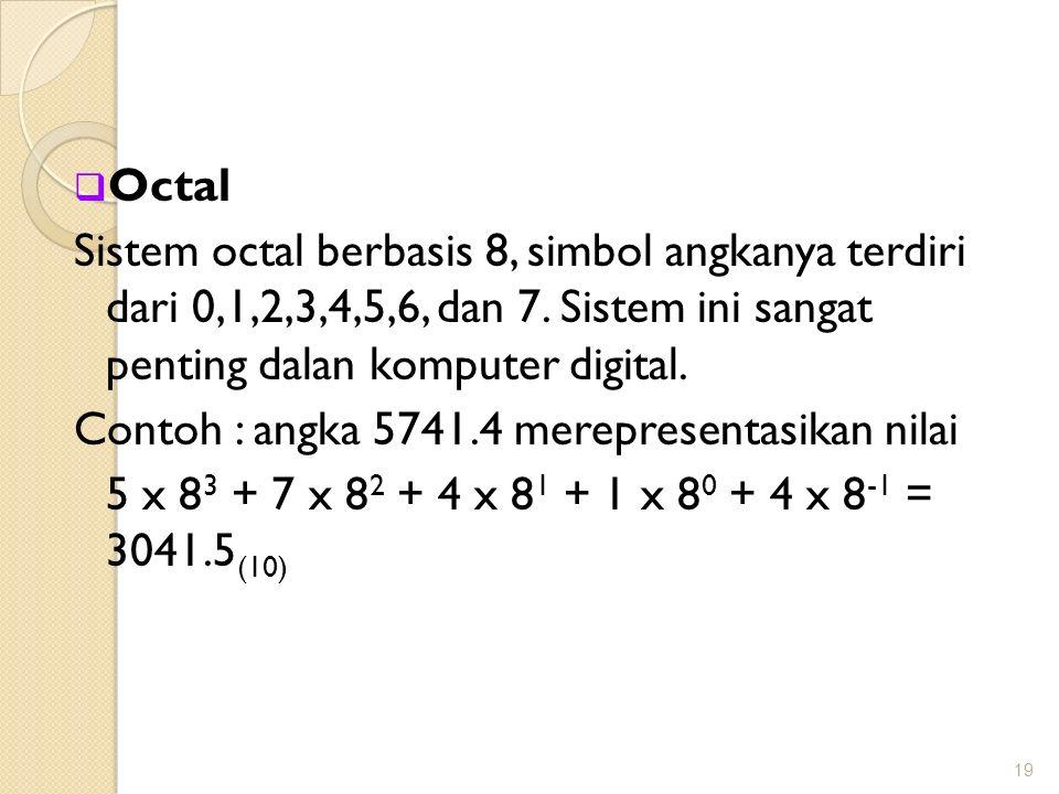  Octal Sistem octal berbasis 8, simbol angkanya terdiri dari 0,1,2,3,4,5,6, dan 7. Sistem ini sangat penting dalan komputer digital. Contoh : angka 5