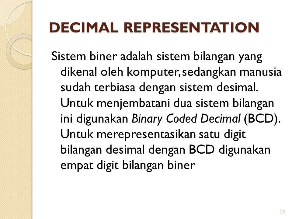 DECIMAL REPRESENTATION Sistem biner adalah sistem bilangan yang dikenal oleh komputer, sedangkan manusia sudah terbiasa dengan sistem desimal. Untuk m