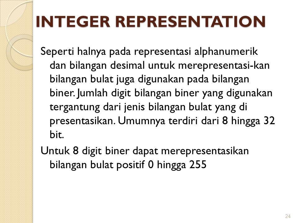 INTEGER REPRESENTATION Seperti halnya pada representasi alphanumerik dan bilangan desimal untuk merepresentasi-kan bilangan bulat juga digunakan pada