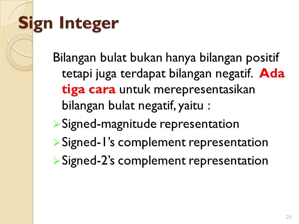 Sign Integer Bilangan bulat bukan hanya bilangan positif tetapi juga terdapat bilangan negatif. Ada tiga cara untuk merepresentasikan bilangan bulat n