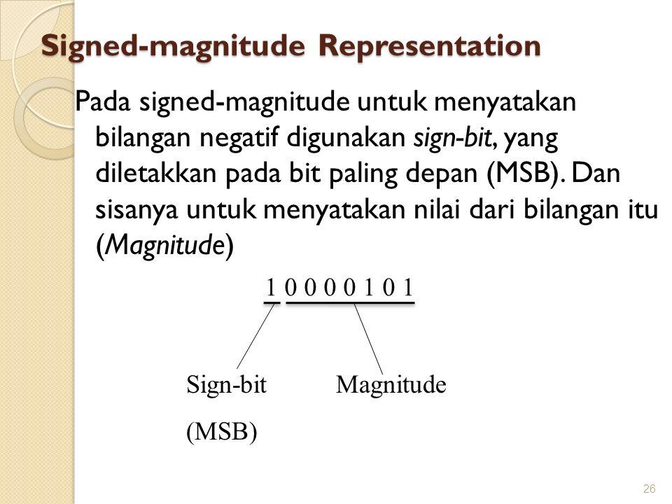 Signed-magnitude Representation Pada signed-magnitude untuk menyatakan bilangan negatif digunakan sign-bit, yang diletakkan pada bit paling depan (MSB