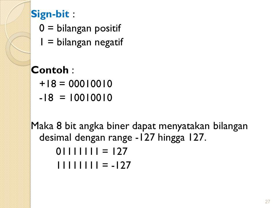 Sign-bit : 0 = bilangan positif 1 = bilangan negatif Contoh : +18 = 00010010 -18 = 10010010 Maka 8 bit angka biner dapat menyatakan bilangan desimal d