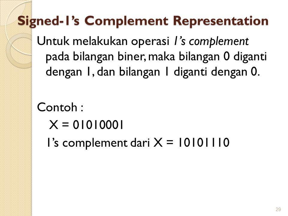 Signed-1's Complement Representation Untuk melakukan operasi 1's complement pada bilangan biner, maka bilangan 0 diganti dengan 1, dan bilangan 1 diga