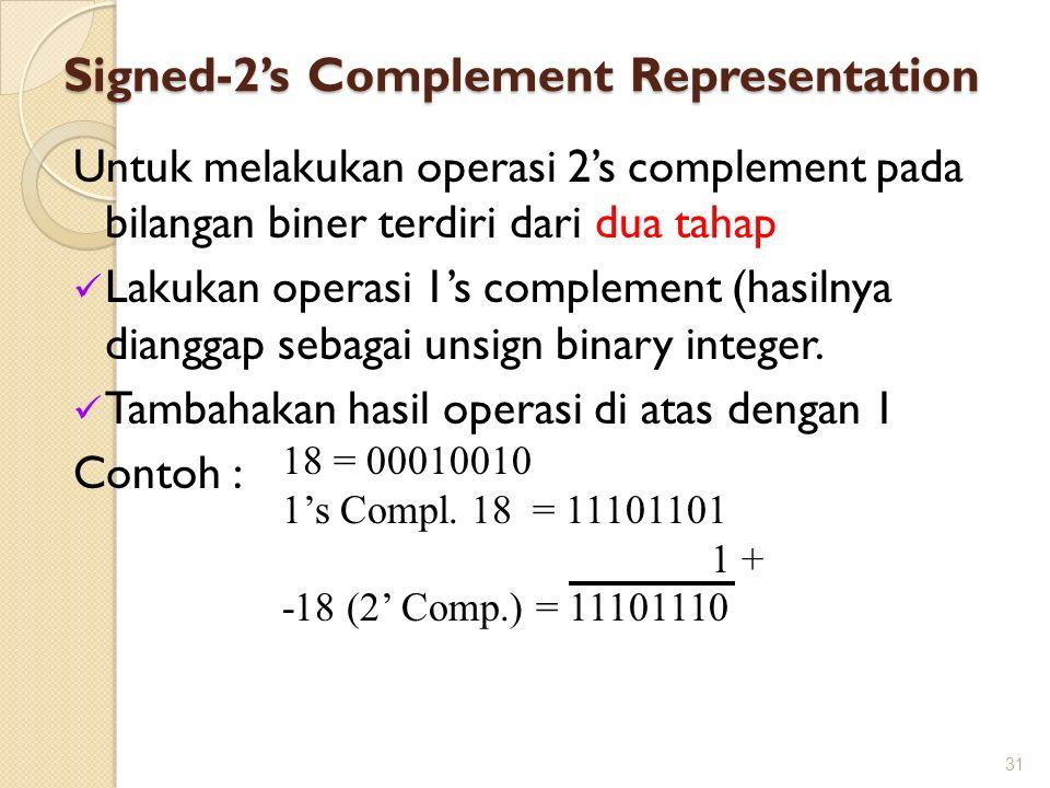 Signed-2's Complement Representation Untuk melakukan operasi 2's complement pada bilangan biner terdiri dari dua tahap Lakukan operasi 1's complement