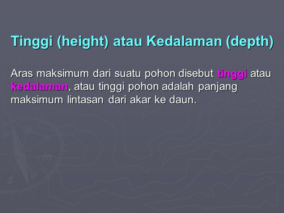 Tinggi (height) atau Kedalaman (depth) Aras maksimum dari suatu pohon disebut tinggi atau kedalaman, atau tinggi pohon adalah panjang maksimum lintasan dari akar ke daun.