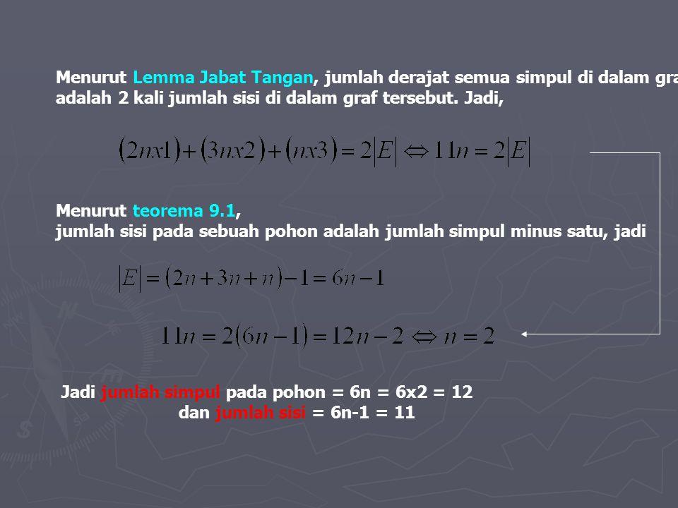 Menurut Lemma Jabat Tangan, jumlah derajat semua simpul di dalam graf adalah 2 kali jumlah sisi di dalam graf tersebut. Jadi, Menurut teorema 9.1, jum