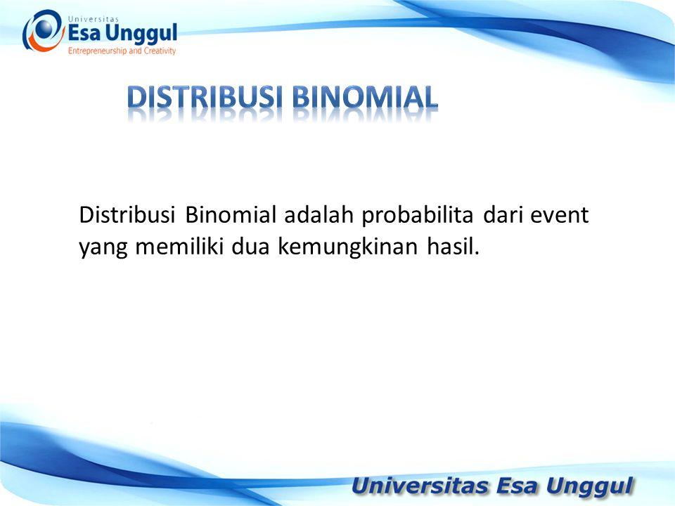 Tahun Pendapatan Nasional (milyar Rupiah) 1990 1991 1992 1993 1994 1995 1996 1997 590,6 612,7 630,8 645 667,9 702,3 801,3 815,7 Distribusi Binomial adalah probabilita dari event yang memiliki dua kemungkinan hasil.