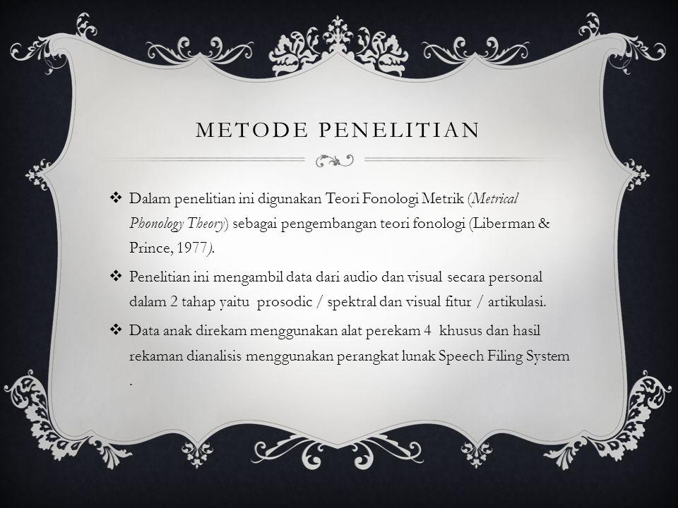 METODE PENELITIAN  Dalam penelitian ini digunakan Teori Fonologi Metrik (Metrical Phonology Theory) sebagai pengembangan teori fonologi (Liberman & P