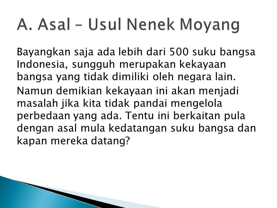 Bayangkan saja ada lebih dari 500 suku bangsa Indonesia, sungguh merupakan kekayaan bangsa yang tidak dimiliki oleh negara lain. Namun demikian kekaya