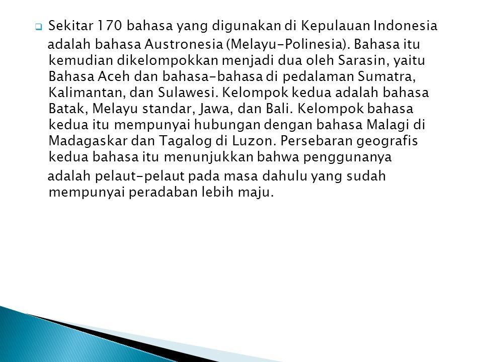 Sekitar 170 bahasa yang digunakan di Kepulauan Indonesia adalah bahasa Austronesia (Melayu-Polinesia). Bahasa itu kemudian dikelompokkan menjadi dua