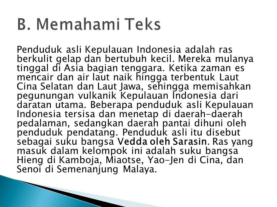 Penduduk asli Kepulauan Indonesia adalah ras berkulit gelap dan bertubuh kecil. Mereka mulanya tinggal di Asia bagian tenggara. Ketika zaman es mencai