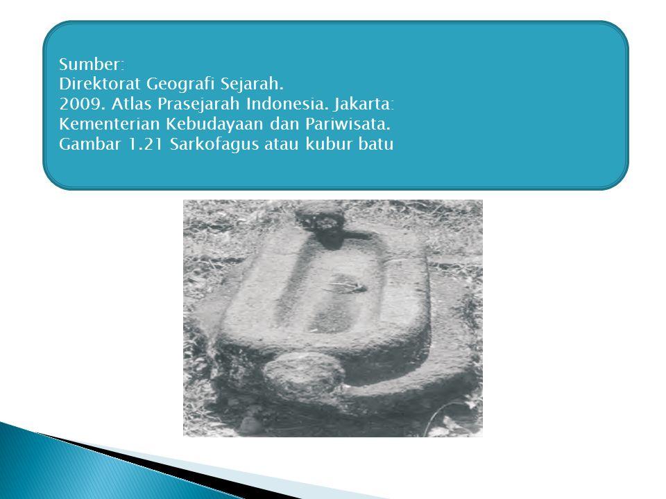 Sumber: Direktorat Geografi Sejarah. 2009. Atlas Prasejarah Indonesia. Jakarta: Kementerian Kebudayaan dan Pariwisata. Gambar 1.21 Sarkofagus atau kub