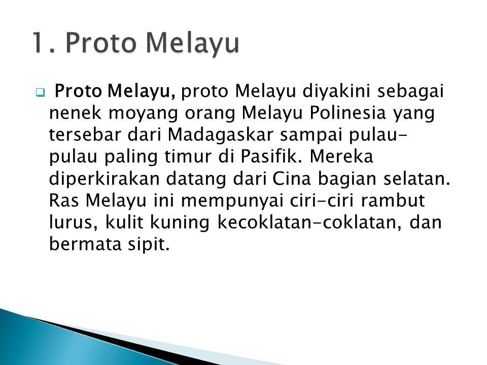  Proto Melayu, proto Melayu diyakini sebagai nenek moyang orang Melayu Polinesia yang tersebar dari Madagaskar sampai pulau- pulau paling timur di Pa