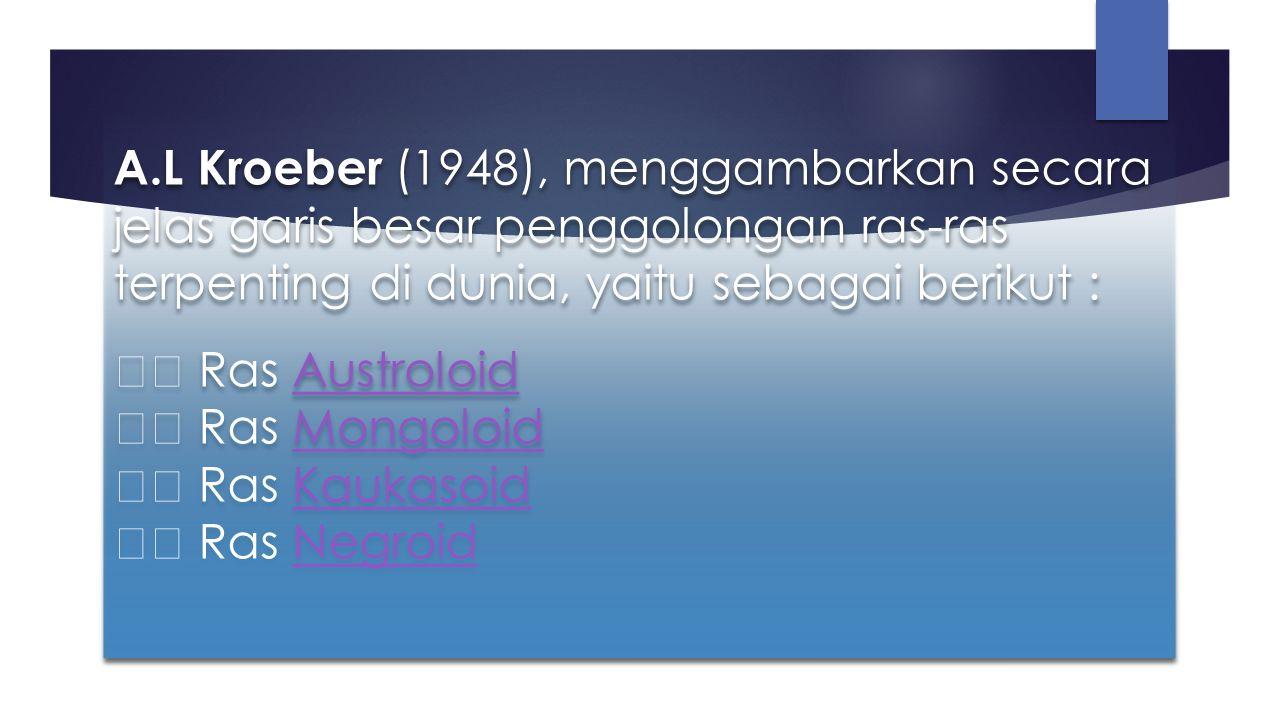 Ras Austroloid Sebelum ras Mongoloid tiba di Nusantara, ras Austroloid merupakan ras dominan yang tersebar diseluruh pulau, sampai ke bagian timur Nusantara.