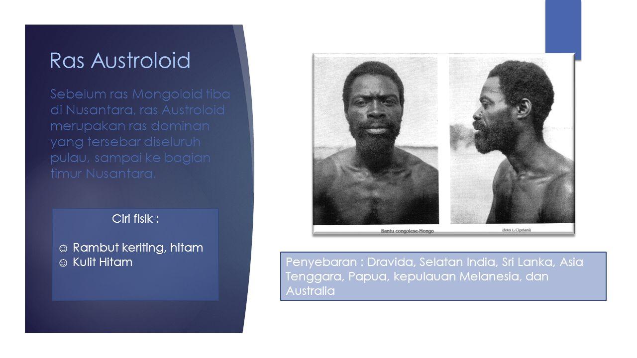 Negroid Afrika Ciri fisik : ☺ Tubuh kekar, tinggi ☺ Rambut hitam, keriting ☺ Kulit Hitam Penyebaran : Benua Afrika