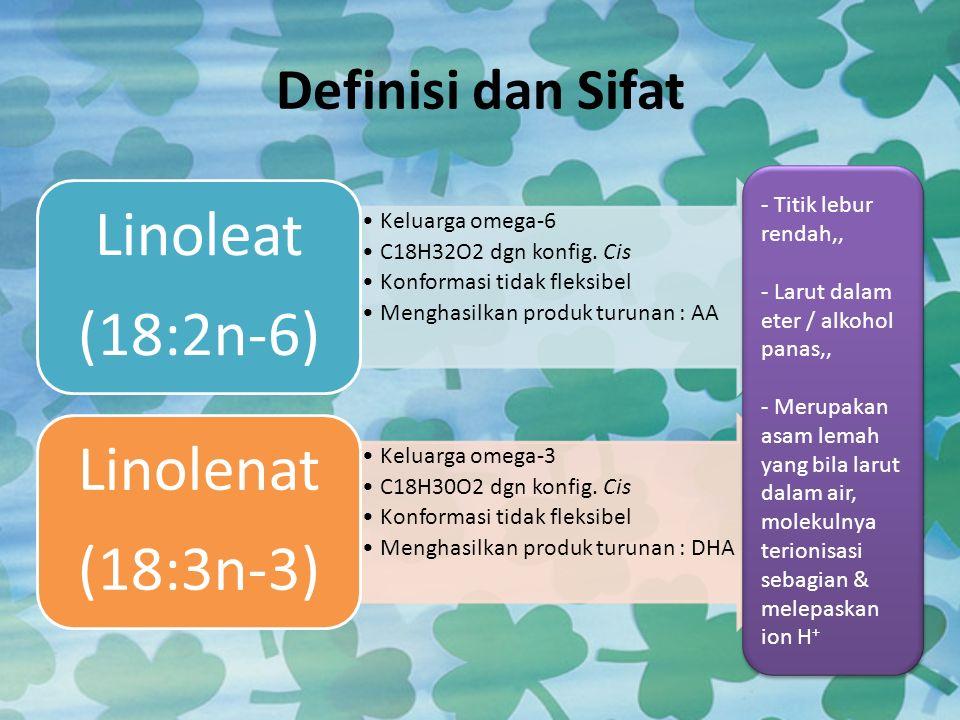 Definisi dan Sifat Keluarga omega-6 C18H32O2 dgn konfig. Cis Konformasi tidak fleksibel Menghasilkan produk turunan : AA Linoleat (18:2n-6) Keluarga o