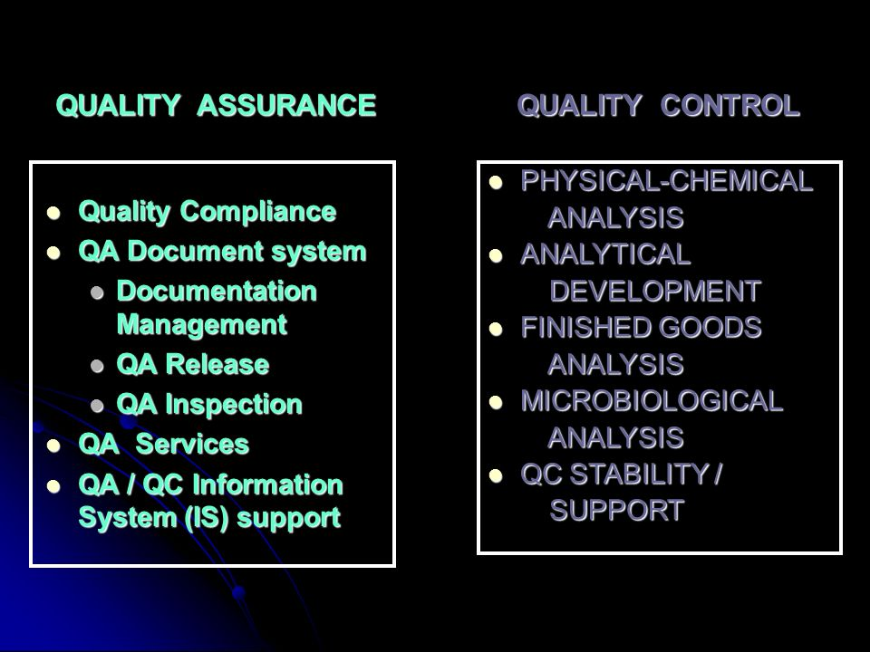 QUALITY ASSURANCE QUALITY CONTROL Quality Compliance Quality Compliance QA Document system QA Document system Documentation Management Documentation M