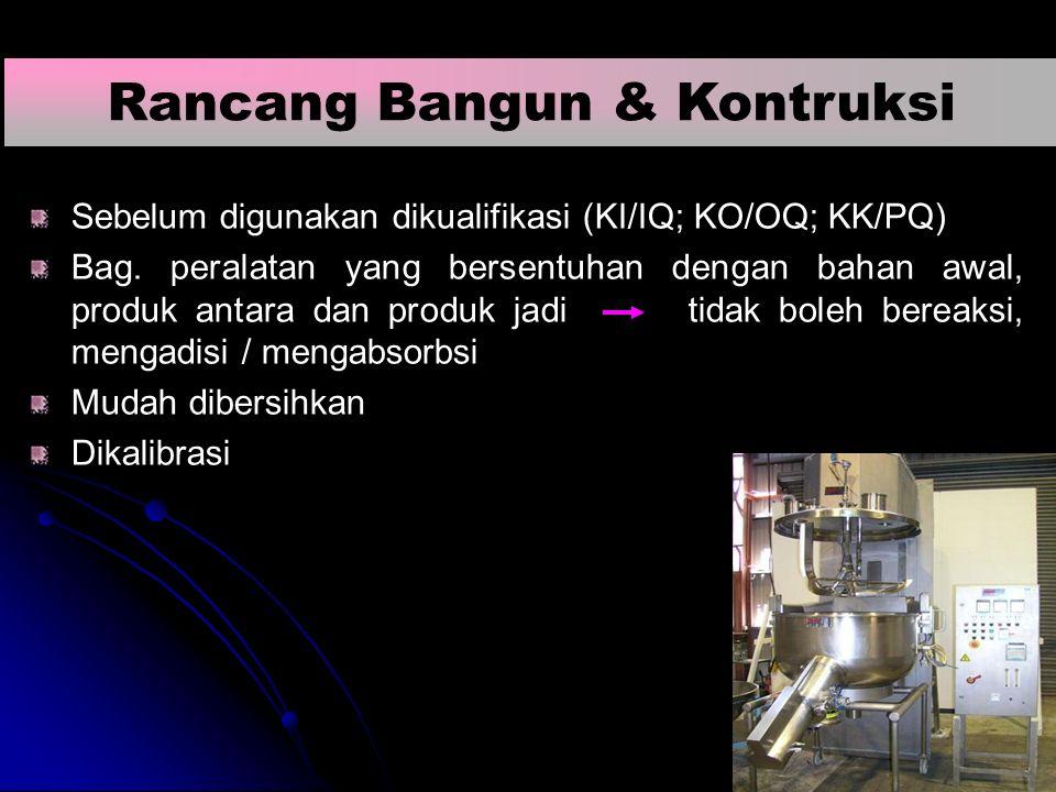 Sebelum digunakan dikualifikasi (KI/IQ; KO/OQ; KK/PQ) Bag. peralatan yang bersentuhan dengan bahan awal, produk antara dan produk jadi tidak boleh ber