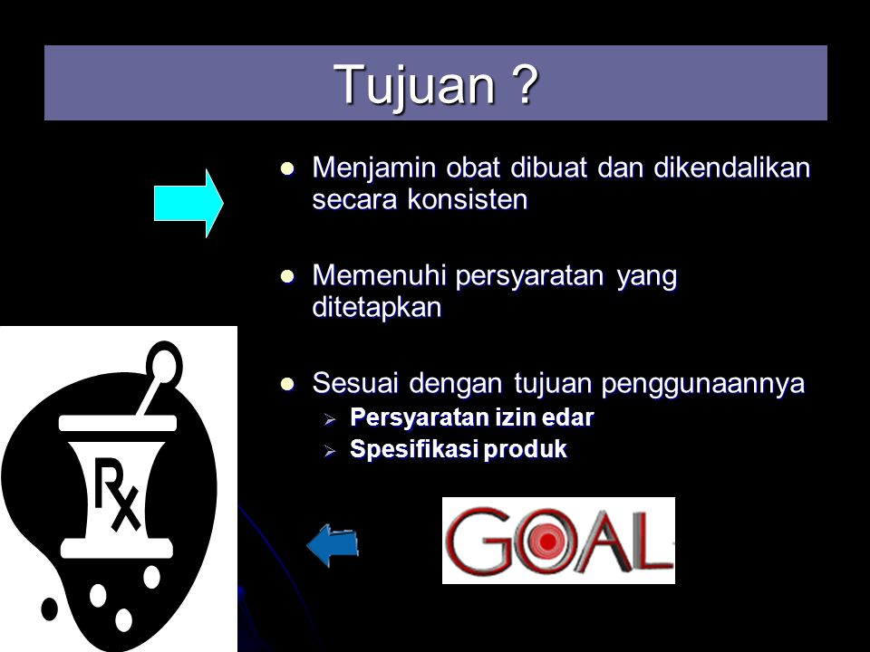 Tujuan ? Menjamin obat dibuat dan dikendalikan secara konsisten Menjamin obat dibuat dan dikendalikan secara konsisten Memenuhi persyaratan yang ditet