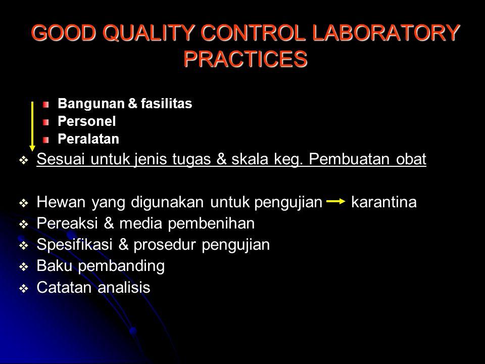 Bangunan & fasilitas Personel Peralatan   Sesuai untuk jenis tugas & skala keg. Pembuatan obat   Hewan yang digunakan untuk pengujian karantina 