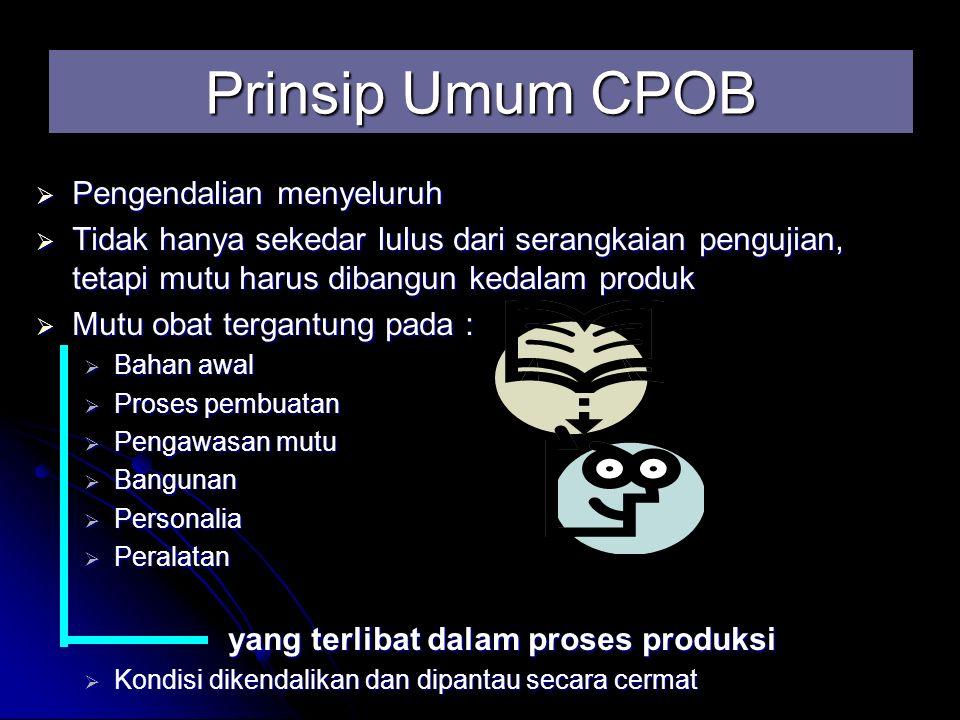 Kualitas dibangun kedalam produk Pengawasan dalam pembuatan obat Pengawasan dalam pembuatan obat Kualitas tidak tergantung pada pengujian yang dilakukan Kualitas tidak tergantung pada pengujian yang dilakukan Prinsip Umum CPOB