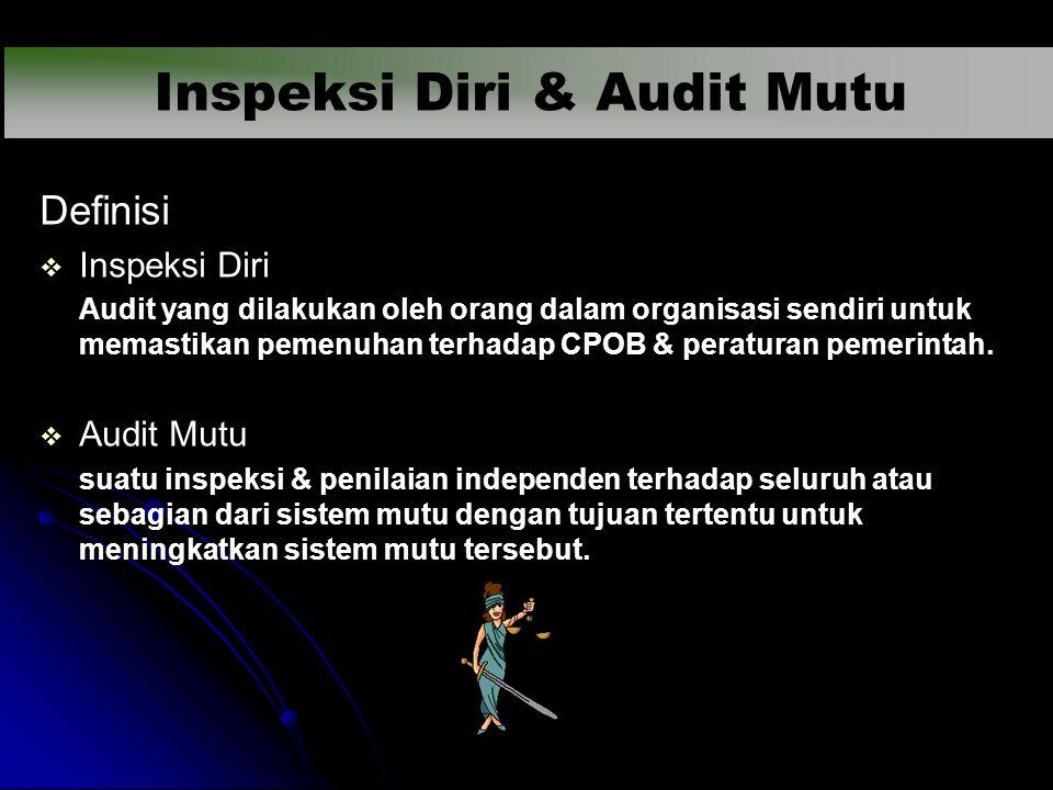 Definisi   Inspeksi Diri Audit yang dilakukan oleh orang dalam organisasi sendiri untuk memastikan pemenuhan terhadap CPOB & peraturan pemerintah. 