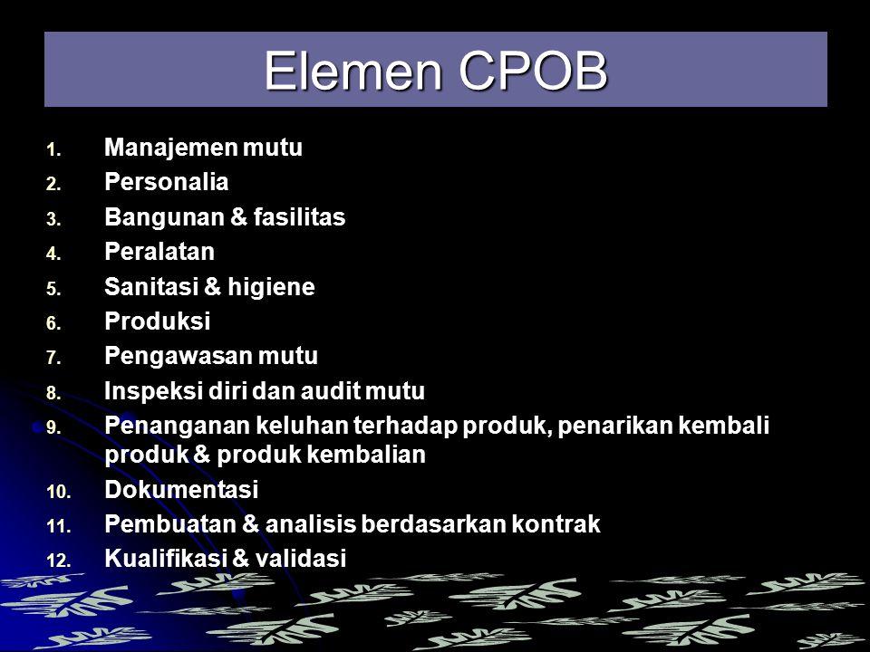1. 1. Manajemen mutu 2. 2. Personalia 3. 3. Bangunan & fasilitas 4. 4. Peralatan 5. 5. Sanitasi & higiene 6. 6. Produksi 7. 7. Pengawasan mutu 8. 8. I