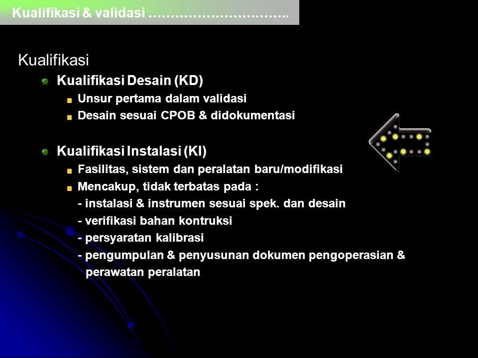 Kualifikasi & validasi ………………………….. Kualifikasi Kualifikasi Desain (KD) Unsur pertama dalam validasi Desain sesuai CPOB & didokumentasi Kualifikasi In
