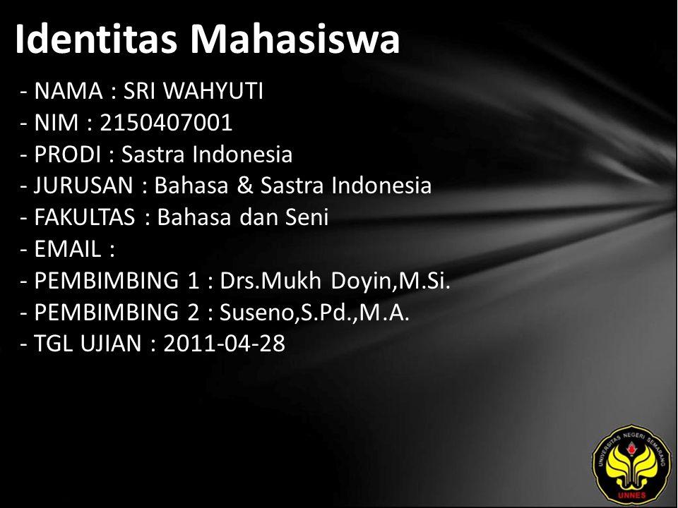 Identitas Mahasiswa - NAMA : SRI WAHYUTI - NIM : 2150407001 - PRODI : Sastra Indonesia - JURUSAN : Bahasa & Sastra Indonesia - FAKULTAS : Bahasa dan Seni - EMAIL : - PEMBIMBING 1 : Drs.Mukh Doyin,M.Si.