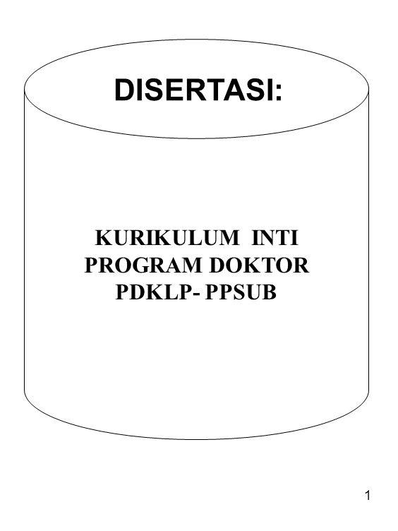 1 KURIKULUM INTI PROGRAM DOKTOR PDKLP- PPSUB DISERTASI:
