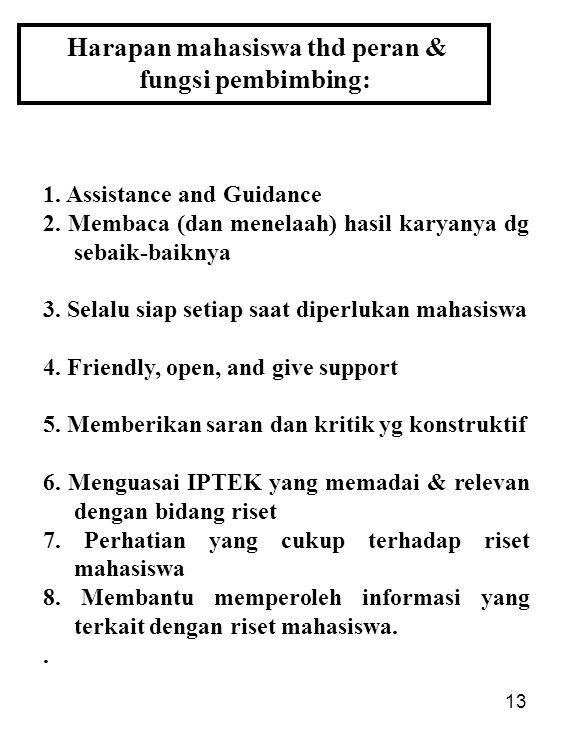 13 Harapan mahasiswa thd peran & fungsi pembimbing: 1. Assistance and Guidance 2. Membaca (dan menelaah) hasil karyanya dg sebaik-baiknya 3. Selalu si