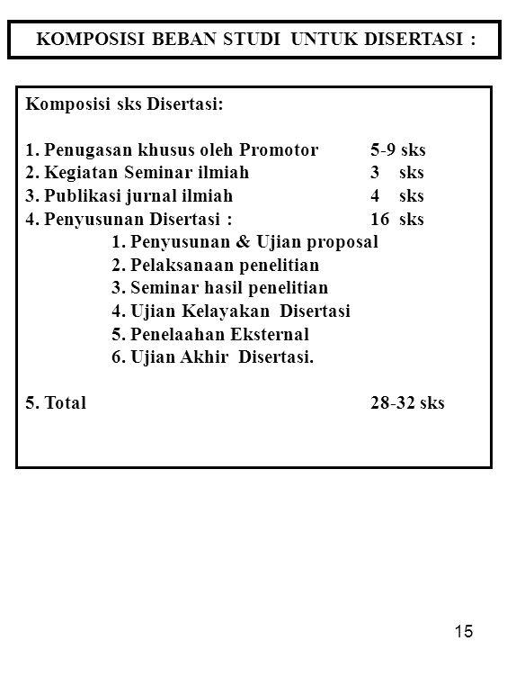 15 KOMPOSISI BEBAN STUDI UNTUK DISERTASI : Komposisi sks Disertasi: 1. Penugasan khusus oleh Promotor5-9 sks 2. Kegiatan Seminar ilmiah 3 sks 3. Publi