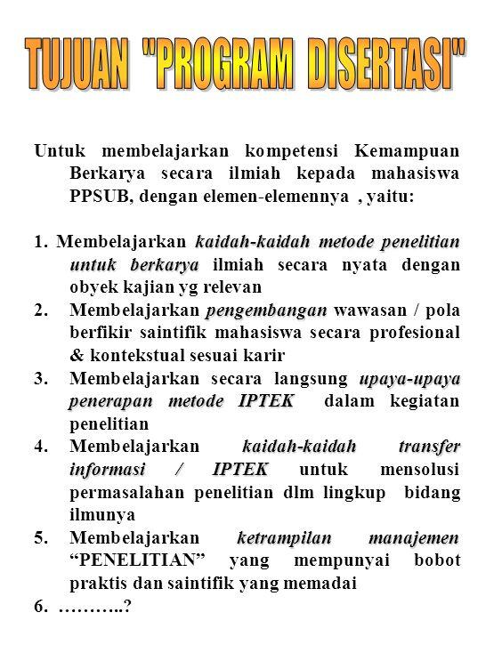 20 Untuk membelajarkan kompetensi Kemampuan Berkarya secara ilmiah kepada mahasiswa PPSUB, dengan elemen-elemennya, yaitu: kaidah-kaidah metode peneli