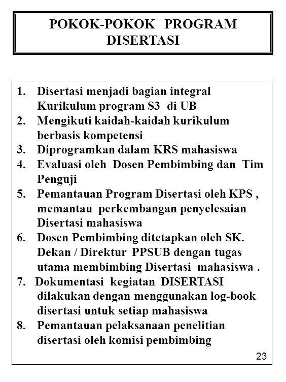 23 POKOK-POKOK PROGRAM DISERTASI 1. Disertasi menjadi bagian integral Kurikulum program S3 di UB 2. Mengikuti kaidah-kaidah kurikulum berbasis kompete