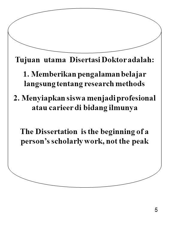 5 Tujuan utama Disertasi Doktor adalah: 1. Memberikan pengalaman belajar langsung tentang research methods 2. Menyiapkan siswa menjadi profesional ata