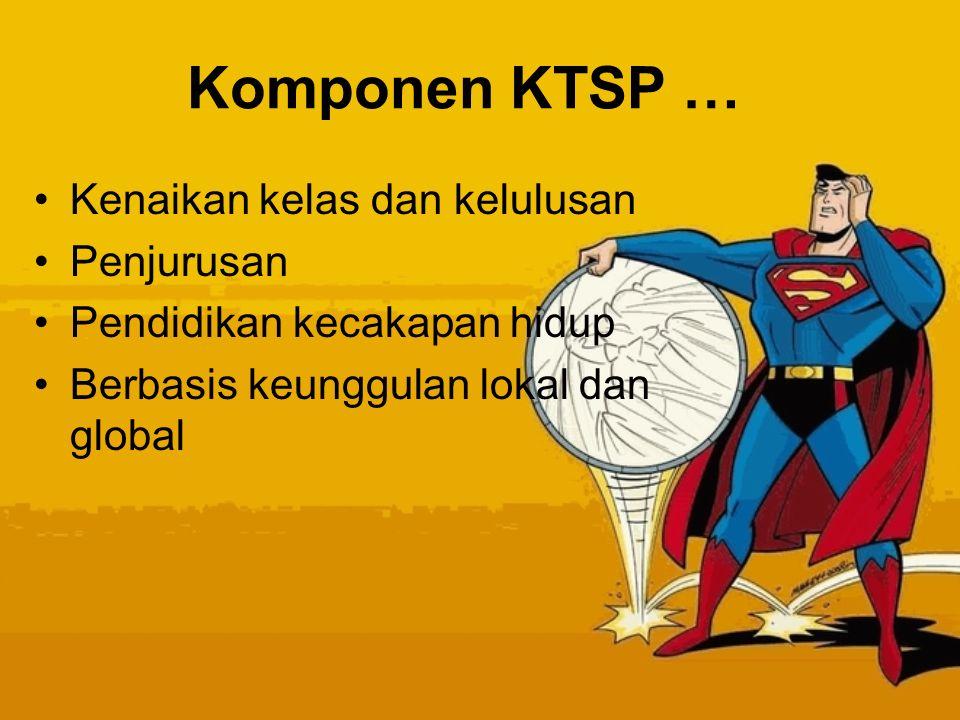 Komponen KTSP … Kenaikan kelas dan kelulusan Penjurusan Pendidikan kecakapan hidup Berbasis keunggulan lokal dan global
