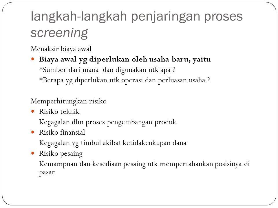 langkah-langkah penjaringan proses screening Menaksir biaya awal Biaya awal yg diperlukan oleh usaha baru, yaitu *Sumber dari mana dan digunakan utk a