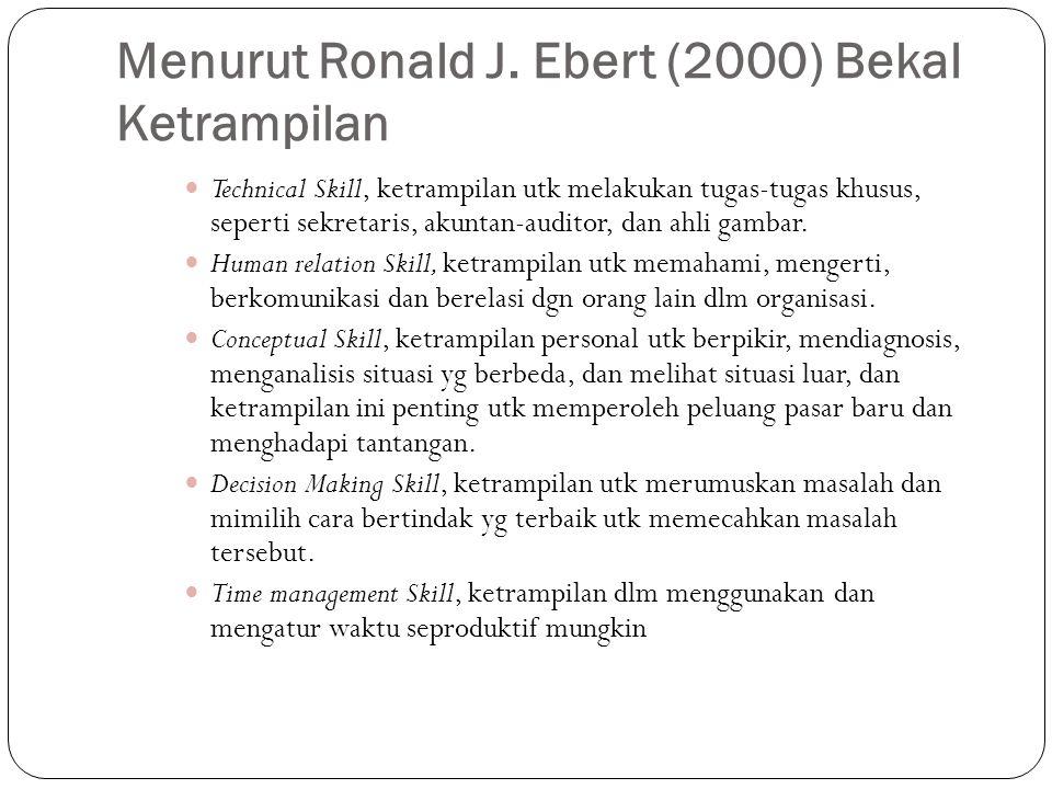 Menurut Ronald J. Ebert (2000) Bekal Ketrampilan Technical Skill, ketrampilan utk melakukan tugas-tugas khusus, seperti sekretaris, akuntan-auditor, d