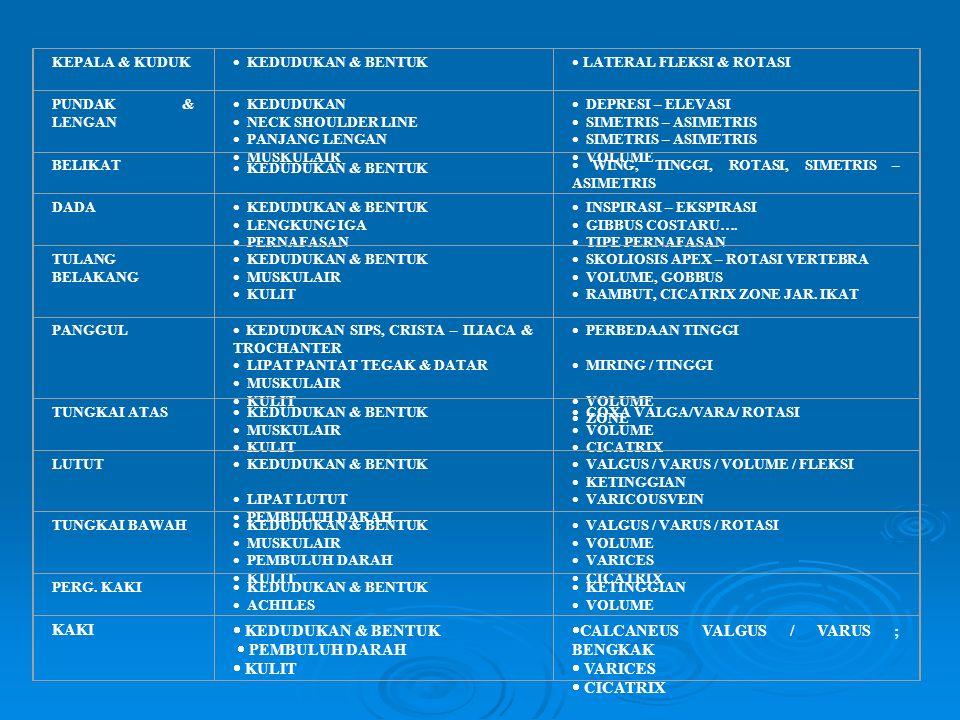 POSISI BERDIRI PANDANGAN BELAKANG KEPALA & KUDUK  KEDUDUKAN & BENTUK  LATERAL FLEKSI & ROTASI PUNDAK & LENGAN  KEDUDUKAN  NECK SHOULDER LINE  PAN