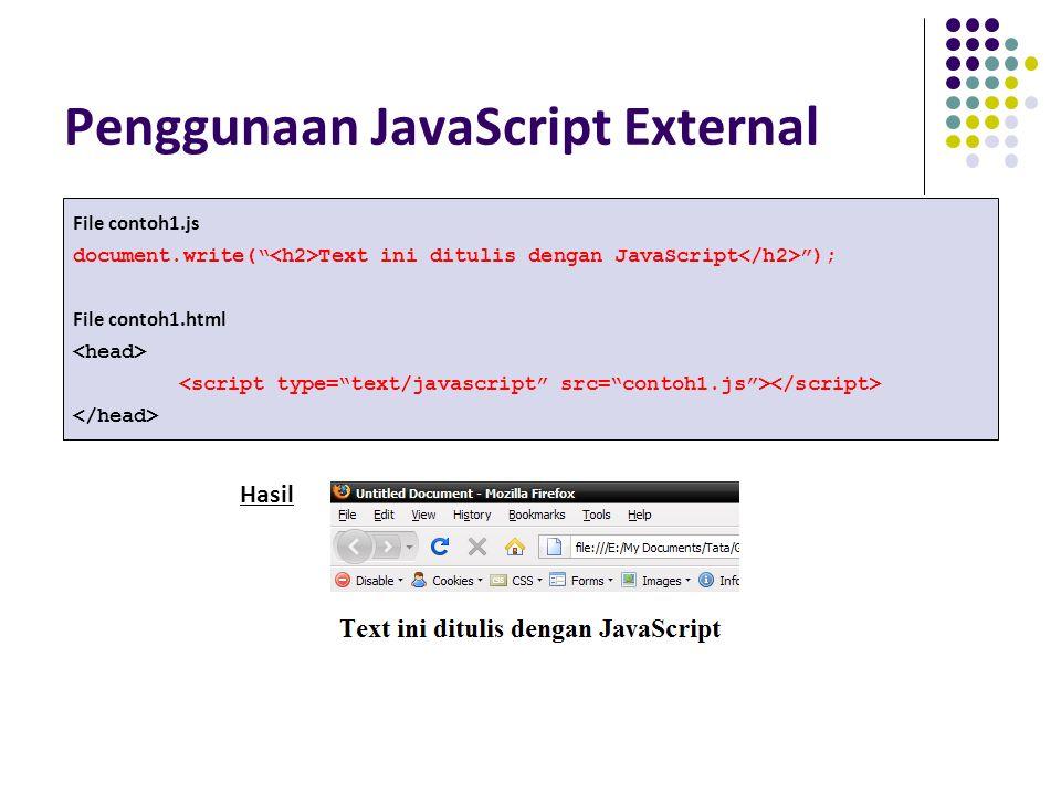 """Penggunaan JavaScript External File contoh1.js document.write("""" Text ini ditulis dengan JavaScript """"); File contoh1.html Hasil"""